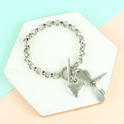 Danon Silver Dragonfly And Heart Toggle Bracelet