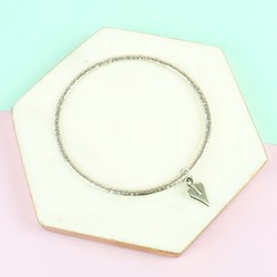 Danon Silver Small Signature Heart Charm Bangle