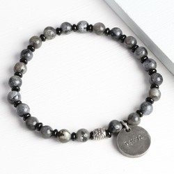 Men's Personalised Black and Grey Stone Beaded Bracelet