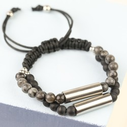 Men's Semi-Precious Stone Double Stainless Steel Tube Bracelet