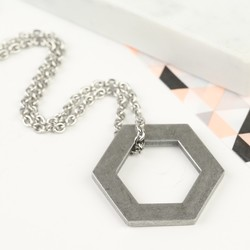 Men's Stainless Steel Hexagonal Necklace