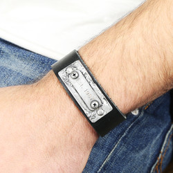 Personalised Men's Leather Cuff Bracelet with Metal Plaque