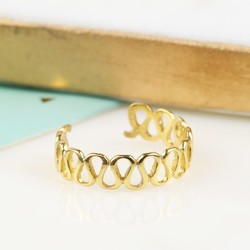 Gold Plated Sterling Silver Toe or Midi Wave Ring