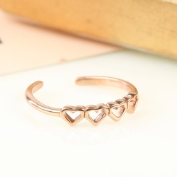 Rose Gold Plated Sterling Silver Hearts Toe or Midi Ring