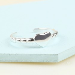 Sterling Silver Heart Toe or Midi Ring