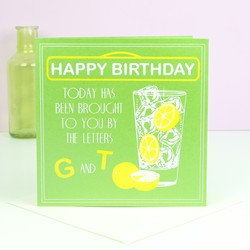 Five Dollar Shake Gin and Tonic Birthday Card