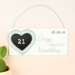Personalised Wooden 'Days Until Our Wedding' Plaque