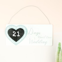 Wooden 'Day Until Our Wedding' Chalkboard Plaque