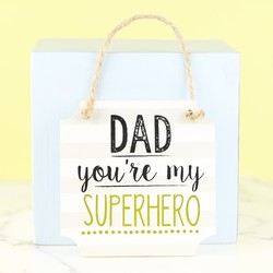 Wooden Superhero Dad Hanging Sign