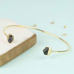 Black Marble Hexagonal Feature Gold Bangle