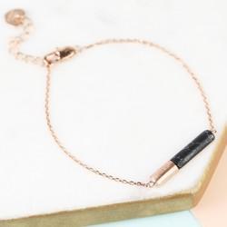 Black Marble Tube Bracelet in Rose Gold