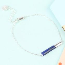 Blue Lapis Tube Bracelet in Silver