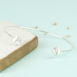 White Marble Hexagonal Feature Silver Bangle
