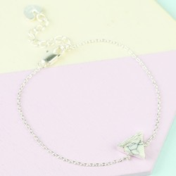 White Marble Triangle Bracelet in Silver