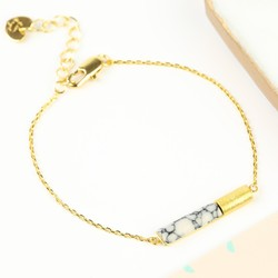 White Marble Tube Bracelet in Gold