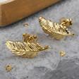 Ladies' Gold Feather Stud Earrings