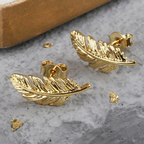 Gold Feather Earrings Jewellery Lisa Angel Delicate
