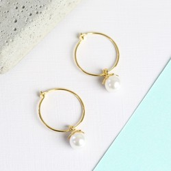 Gold Hoop Earrings With Hanging Pearl