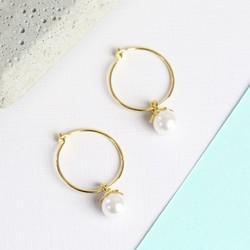 Gold Hoop Earrings With Hanging Pearl