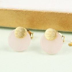 Round Rose Quartz Stud Earrings