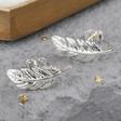 Lisa Angel Ladies' Silver Feather Stud Earrings