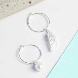 Silver Hoop Earrings With Feather And Pearl