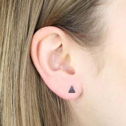 Tiny Brushed Black Triangle Stud Earrings