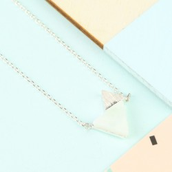 Amazonite Double Triangle Pendant Necklace in Silver