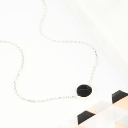 Black Marble Disc Pendant Necklace in Silver