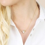 White Marble Double Triangle Pendant Necklace in Gold