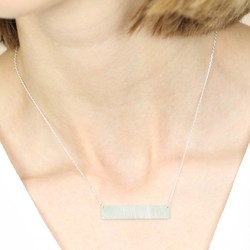 Flat Horizontal Bar Necklace in Silver