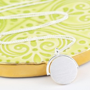 Long Silver Spinning Disc Necklace