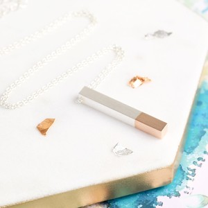 Rose Gold Dipped Silver Bar Necklace