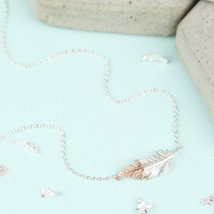 Silver and Rose Gold Dipped Feather Necklace