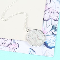Short Silver Sixpence Pendant Necklace