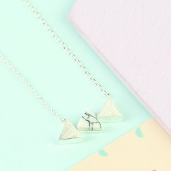 White Marble Triple Triangle Pendant Necklace in Silver