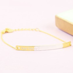 Personalised Gold & Silver Dipped Curved Bar Bracelet