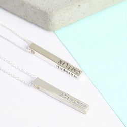 Personalised Sterling Silver Bar Necklace