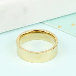 Wide Stainless Steel Ring in Gold