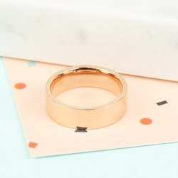 Wide Stainless Steel Ring In Rose Gold