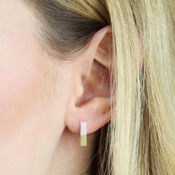 Silver Dipped in Gold Bar Stud Earrings