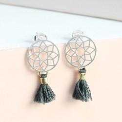 Silver Dreamcatcher Earrings With Grey Tassels
