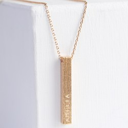 Personalised Rose Gold Diamond Shimmer Bar Necklace