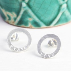 Personalised Small Brushed Silver Circle Earrings