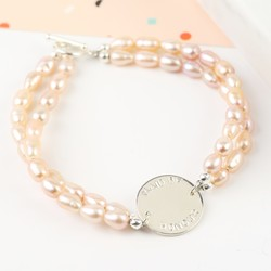 Personalised Double Freshwater Rice Pearl Disc Bracelet