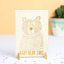 Engraved 'Baby Bear' Wooden Card