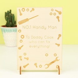 Engraved 'Handy Man Dad' Wooden Card