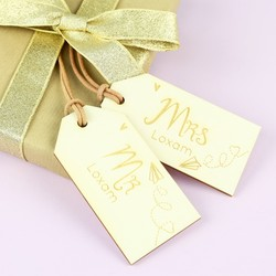 Set of Personalised 'Mr & Mrs' Wooden Tags