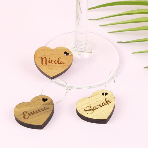 Personalised Wooden Wine Glass Charm Gifts Lisa Angel