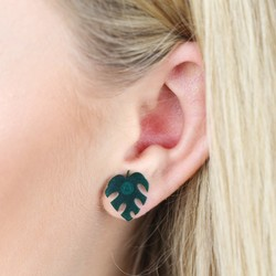 Acrylic Leaf Stud Earrings